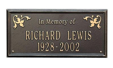 """Standard Size Wilmington """"In Memory of"""" Wall or Lawn Plaque - (2 Lines)"""