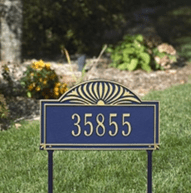 Sunburst - One Line Standard Lawn Address Sign