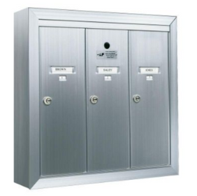 3 Compartment Surface Mount Vertical Mailboxes - Anodized Aluminum