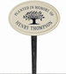 Whitehall Tree Memorial Ceramic Oval - Petite Lawn Address Sign - One Line - Black