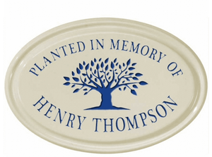 Whitehall Tree Memorial Ceramic Oval - One Line Petite Wall Plaque - Dark Blue