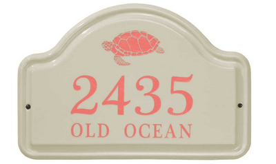 Whitehall Turtle Ceramic Arch - Standard Two Line Wall Plaque - Coral