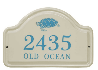 Whitehall Turtle Ceramic Arch - Standard Two Line Wall Plaque - Sea Blue
