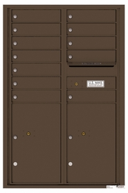 Versatile Rear Loading Commercial Mailbox with 12 Tenant Compartments and 2 Parcel Lockers - Double Column