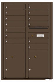 Versatile Rear Loading Commercial Mailbox with 13 Tenant Compartments and 2 Parcel Lockers - Double Column