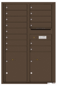 Versatile Rear Loading Commercial Mailbox with 14 Tenant Compartments and 2 Parcel Lockers - Double Column