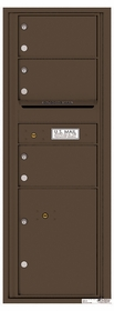 Versatile Rear Loading Commercial Mailbox with 3 Tenant Compartments and 1 Parcel Locker - Single Column