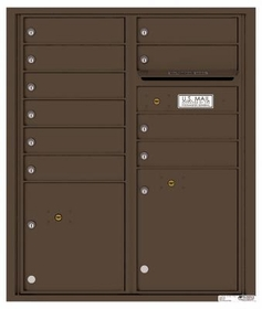 Versatile Rear Loading Double Column Commercial Mailbox with 10 Tenant Compartments and 2 Parcel Lockers