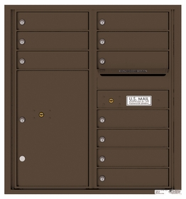 Versatile Rear Loading Double Column Commercial Mailbox with 10 Tenant Doors and 1 Parcel Locker
