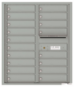 Versatile Front Loading Double Column Commercial Mailbox with 18 Tenant Compartments and Outgoing Mail Slot