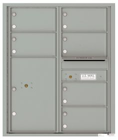 Versatile Front Loading Double Column Commercial Mailbox with 6 Tenant Compartments and 1 Parcel Locker