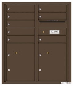 Versatile Rear Loading Double Column Commercial Mailbox with 8 Tenant Compartments and 2 Parcel Lockers