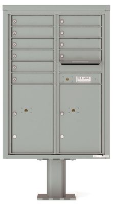 Versatile Front Loading Double Column Pedestal Mailbox with 10 Tenant Doors and 2 Parcel Lockers
