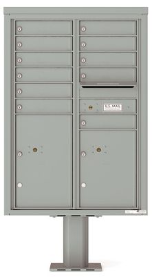 Versatile Front Loading Double Column Pedestal Mailbox with 11 Tenant Doors and 2 Parcel Lockers