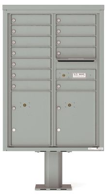 Versatile Front Loading Double Column Pedestal Mailbox with 12 Tenant Doors and 2 Parcel Lockers