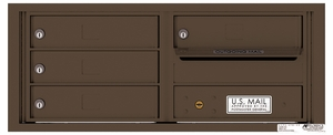 Versatile Rear Loading Fully Recessed 4C Mailbox with 4 Tenant Doors and Outgoing Mail Slot