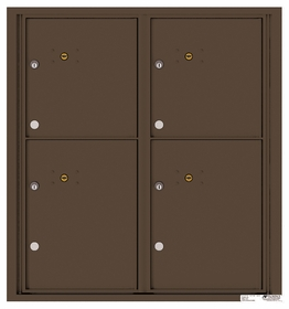 Versatile Rear Loading Fully Recessed Double Column Commercial Mailbox with 4 Parcel Lockers
