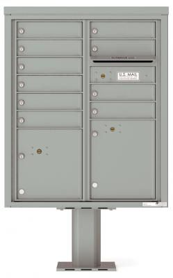 Versatile Front Loading Pedestal Mailbox with 10 Extra-Large Tenant Doors and Outgoing Mail Slot