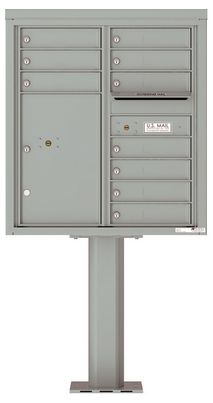 Versatile Front Loading Pedestal Mailbox with 10 Tenant Doors and 1 Parcel Locker