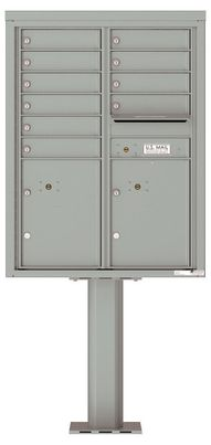 Versatile Front Loading Pedestal Mailbox with 10 Tenant Doors and 2 Parcel Lockers