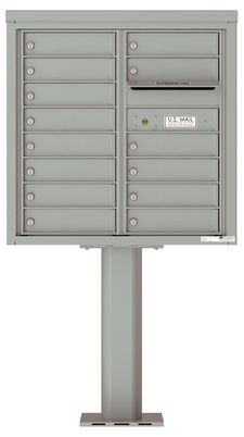Versatile Front Loading Pedestal Mailbox with 14 Tenant Doors and Outgoing Mail Slot