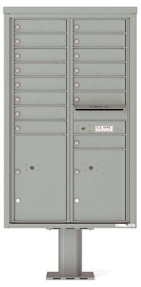 Versatile Front Loading Pedestal Mailbox with 15 Extra-Large Tenant Doors and 2 Parcel Lockers