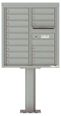 Versatile Front Loading Pedestal Mailbox with 15 Tenant Doors and Outgoing Mail Slot