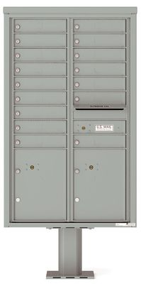 Versatile Front Loading Pedestal Mailbox with 16 Large Tenant Doors and 2 Parcel Lockers
