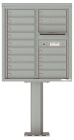 Versatile Front Loading Pedestal Mailbox with 16 Tenant Doors and Outgoing Mail Slot