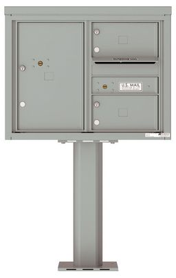 Versatile Front Loading Pedestal Mailbox with 2 Tenant Doors and 1 Parcel Unit