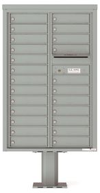 Versatile Front Loading Pedestal Mailbox with 24 Tenant Doors and Outgoing Mail Slot