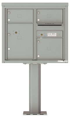 Versatile Front Loading Pedestal Mailbox with 3 Tenant Compartments and 1 Parcel Locker