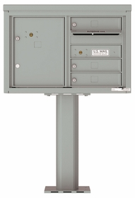 Versatile Front Loading Pedestal Mailbox with 3 Tenant Doors and 1 Parcel Unit