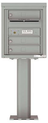 Versatile Front Loading Pedestal Mailbox with 3 Tenant Doors and Outgoing Mail Slot