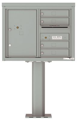 Versatile Front Loading Pedestal Mailbox with 4 Tenant Doors and 1 Parcel Unit