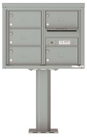 Versatile Front Loading Pedestal Mailbox with 5 Tenant Doors and Outgoing Mail Slot