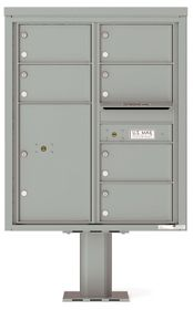 Versatile Front Loading Pedestal Mailbox with 6 Tenant Doors and 1 Parcel Locker