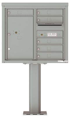Versatile Front Loading Pedestal Mailbox with 6 Tenant Doors and 1 Parcel Unit