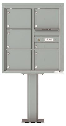 Versatile Front Loading Pedestal Mailbox with 6 Tenant Doors and Outgoing Mail Slot - Double Column