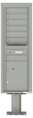 Versatile Front Loading Pedestal Mailbox with 7 Tenant Doors and 1 Parcel Locker
