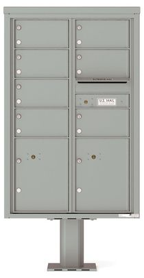 Versatile Front Loading Pedestal Mailbox with 7 Tenant Doors and 2 Parcel Lockers