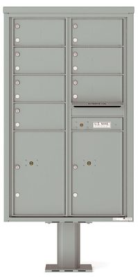 Versatile Front Loading Pedestal Mailbox with 7 Medium Size Tenant Doors and 2 Parcel Lockers
