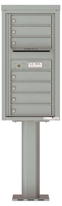 Versatile Front Loading Pedestal Mailbox with 7 Tenant Doors and Outgoing Mail Slot - Single Column