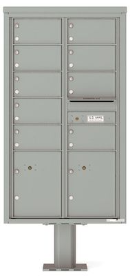 Versatile Front Loading Pedestal Mailbox with 9 Medium Size Tenant Doors and 2 Parcel Lockers