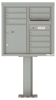 Versatile Front Loading Pedestal Mailbox with 9 Tenant Doors and 1 Parcel Locker