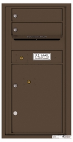 Versatile Rear Loading Single Column Commercial Mailbox with 2 Tenant Compartments and 1 Parcel Locker