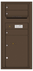 Versatile Rear Loading Single Column Commercial Mailbox with 3 Tenant Compartments and 1 Parcel Locker