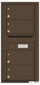 Versatile Rear Loading Single Column Commercial Mailbox with 4 Tenant Compartments and Outgoing Mail Slot
