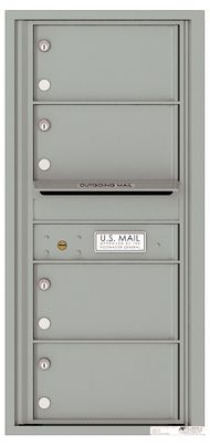 Versatile Front Loading Single Column Commercial Mailbox with 4 Tenant Compartments and Outgoing Mail Slot