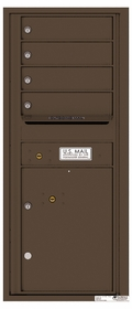 Versatile Rear Loading Single Column Commercial Mailbox with 4 Tenant Doors and 1 Parcel Locker